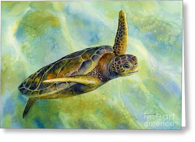 Tropical Wildlife Greeting Cards - Sea Turtle 2 Greeting Card by Hailey E Herrera