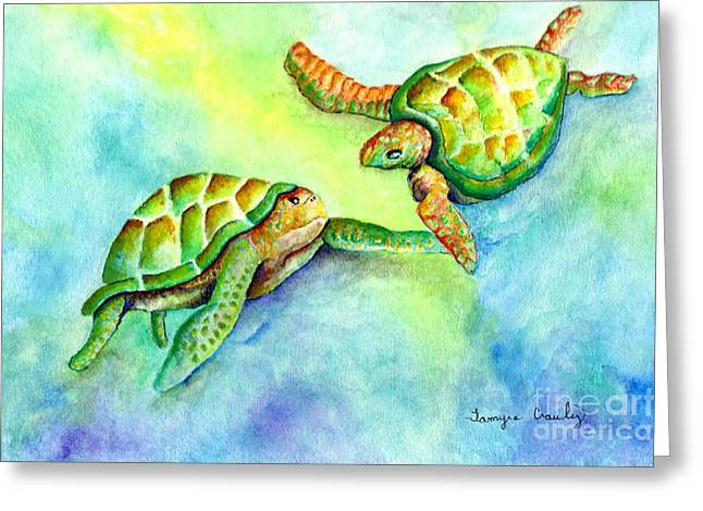 Sea Turtle Courtship Greeting Card by Tamyra Crossley
