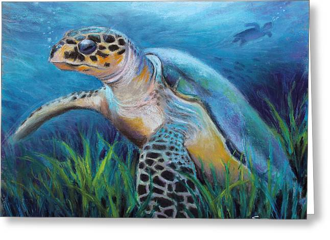 Creature Pastels Greeting Cards - Sea Turtle Cove Greeting Card by Susan Jenkins