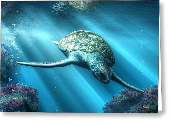 Marine Creatures Greeting Cards - Sea Turtle Greeting Card by Daniel Eskridge