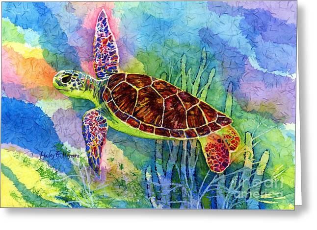 Green Turtle Greeting Cards - Sea Turtle Greeting Card by Hailey E Herrera