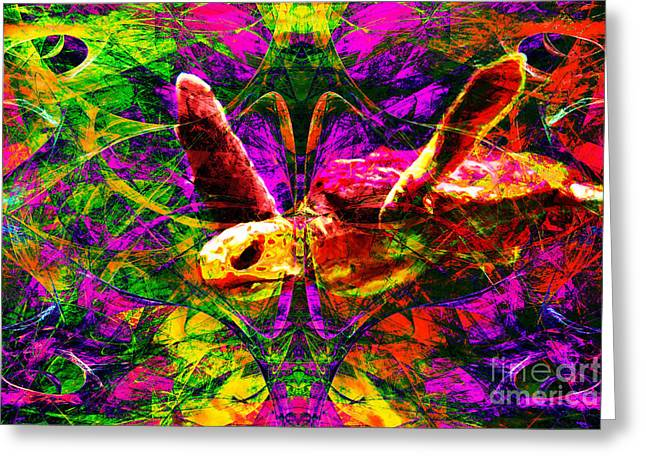 Reptiles Digital Art Greeting Cards - Sea Turtle In Abstract v1 Greeting Card by Wingsdomain Art and Photography