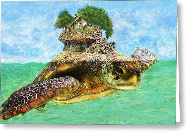 Tropical Oceans Greeting Cards - Sea Turtle Island Greeting Card by Jane Schnetlage