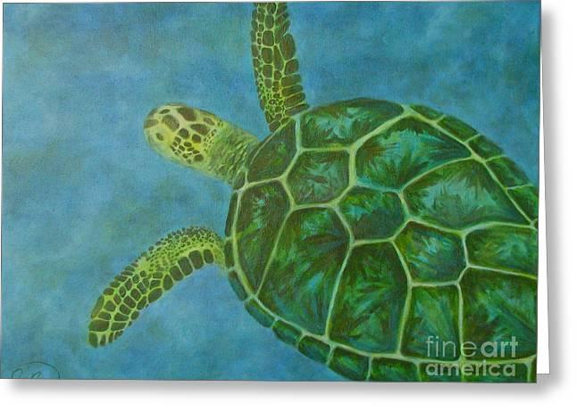 Snorkelling Greeting Cards - Sea Turtle Greeting Card by Julie Neuman