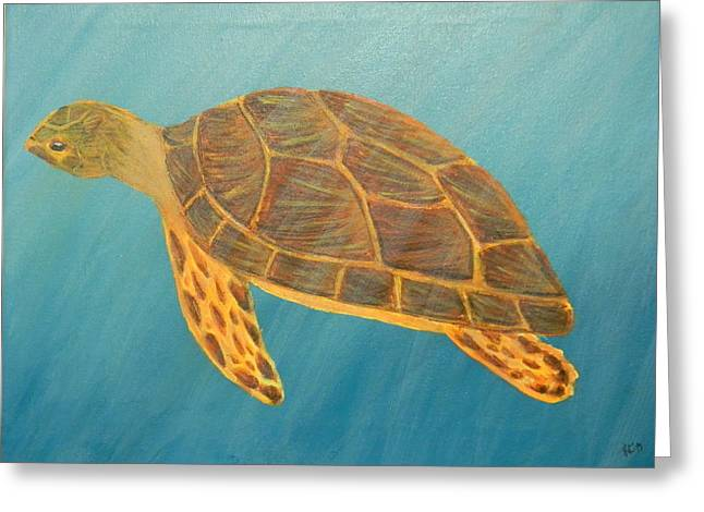 Underwater View Paintings Greeting Cards - Sea Turtle Greeting Card by Karen Coats