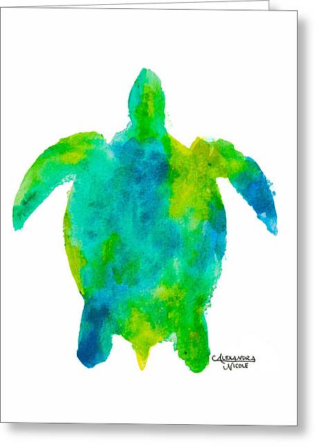 Hawksbill Sea Turtle Greeting Cards - Caretta - Lime Greeting Card by Alexandra Nicole Newton