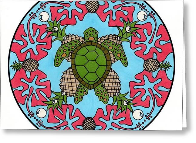 Sea Turtle Mandala Greeting Card by Kate Lawrance