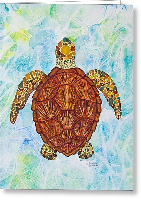 Tropical Oceans Greeting Cards - Sea Turtle Mosaic Greeting Card by Alexandra Nicole Newton