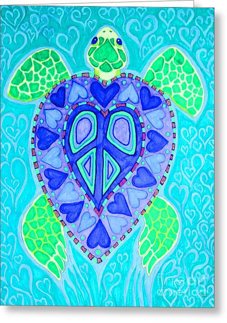 Signed Drawings Greeting Cards - Sea Turtle Swim Greeting Card by Nick Gustafson