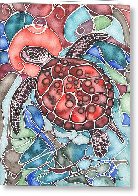 Ocean Shore Greeting Cards - Sea Turtle Greeting Card by Tamara Phillips