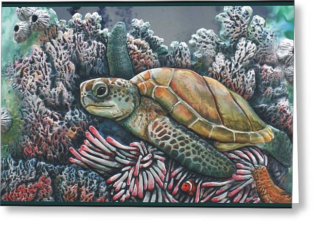 Beach Ceramics Greeting Cards - Sea Turtle Greeting Card by Tod Locke
