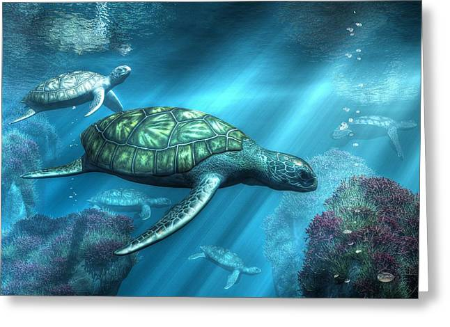 Marine Creatures Greeting Cards - Sea Turtles Greeting Card by Daniel Eskridge