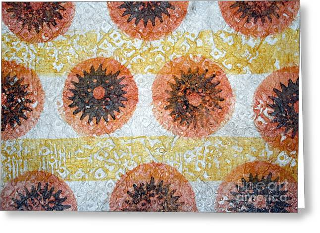 Abstract Tapestries - Textiles Greeting Cards - Sea Urchin Kapa Greeting Card by Dalani Tanahy