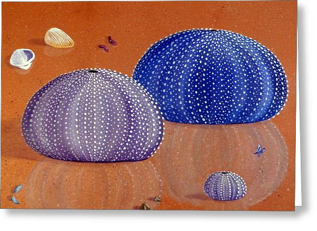 Sea Animals Greeting Cards - Sea Urchins on the Beach Greeting Card by Karyn Robinson