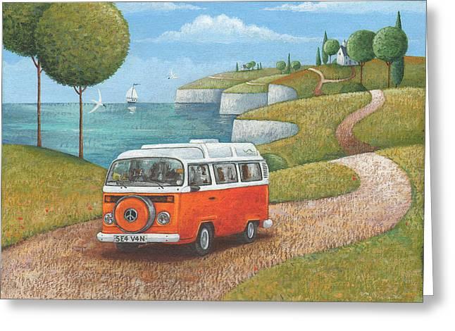 Driving Greeting Cards - Sea Van Variant 1 Greeting Card by Peter Adderley