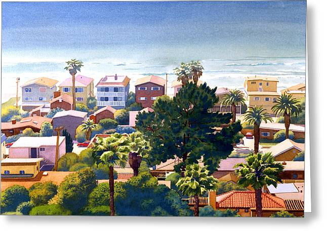 Sea View Del Mar Greeting Card by Mary Helmreich