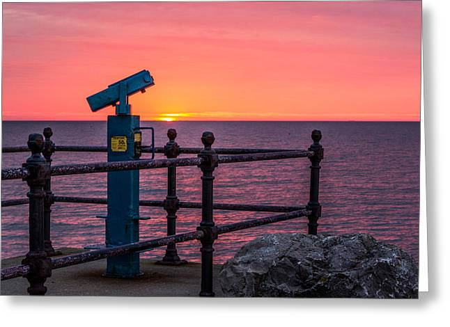 Sunset Seascape Greeting Cards - Sea View Greeting Card by Ian Hufton