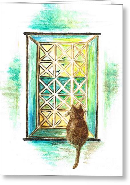 Sat Mixed Media Greeting Cards -  Curiosity  Cat Greeting Card by Teresa White