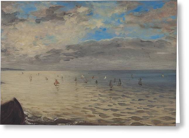 Height Greeting Cards - Sea Viewed from the Heights of Dieppe Greeting Card by Ferdinand Victor Eugene Delacroix