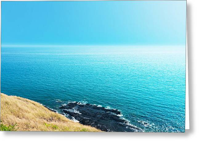 Ocean Images Greeting Cards - Sea views from cliffs Greeting Card by Atiketta Sangasaeng