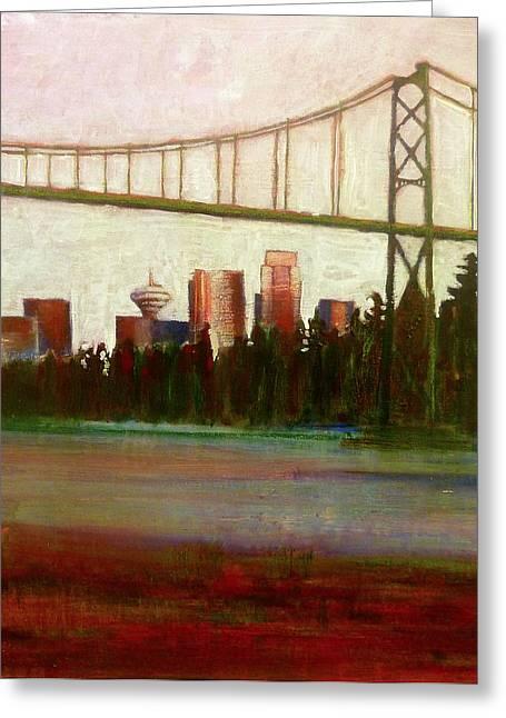 Lions Gate Bridge Paintings Greeting Cards - Sea Wall Greeting Card by Sandrine Pelissier