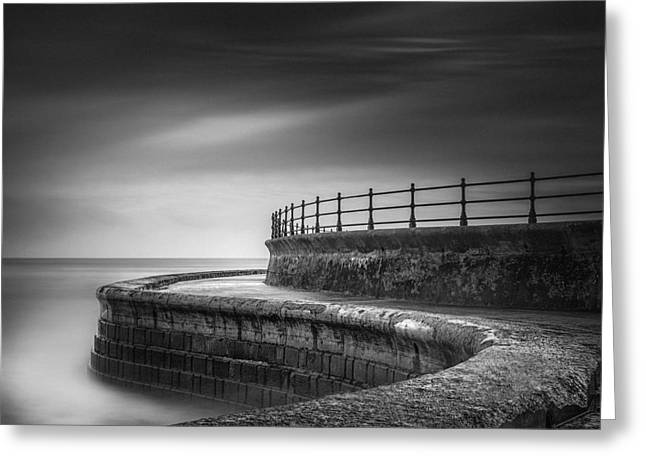 Calm Sea Greeting Cards - Sea Wall Scarborough Yorkshire Greeting Card by Ian Barber