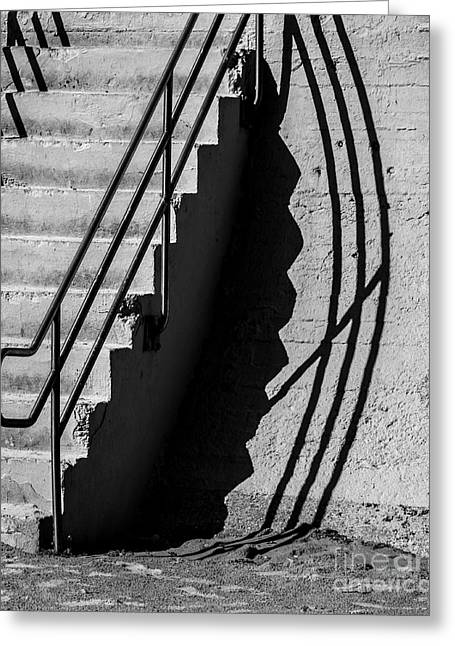 Stair-rail Greeting Cards - Sea Wall Shadow Greeting Card by Perry Webster