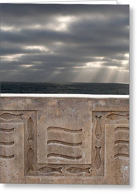 Sea Wall Greeting Cards - Sea Walls and Light Shafts Greeting Card by Peter Tellone