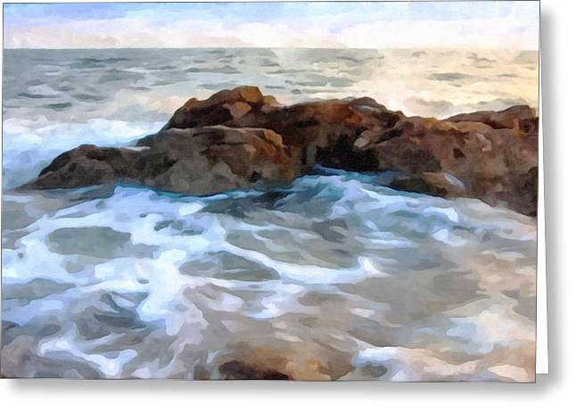 China Beach Greeting Cards - Sea wave Greeting Card by Lanjee Chee