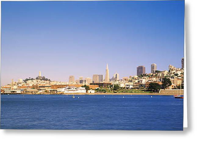 San Francisco Bay Greeting Cards - Sea With A City In The Background, Coit Greeting Card by Panoramic Images