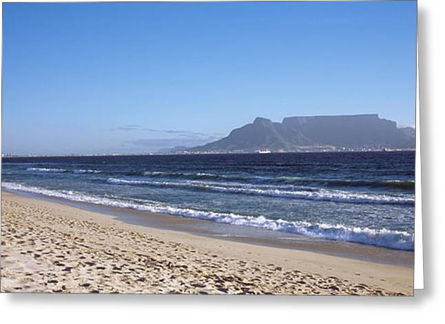 Cape Town Greeting Cards - Sea With Table Mountain Greeting Card by Panoramic Images