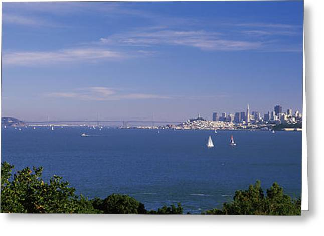 San Francisco Bay Greeting Cards - Sea With The Bay Bridge And Alcatraz Greeting Card by Panoramic Images
