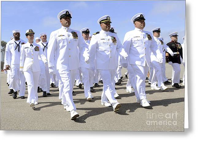 Merit Greeting Cards - Seabees March In Formation Greeting Card by Stocktrek Images