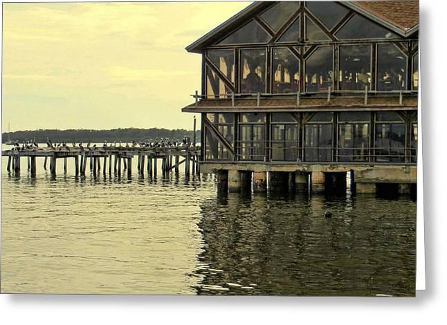 Seabreeze And Pier Cedar Key Florida Greeting Card by Dorothy Menera