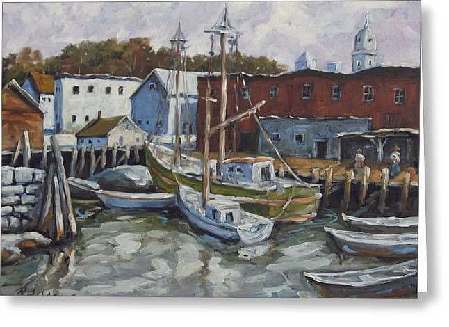 Exposure Paintings Greeting Cards - Seacscape Dock Scene by Prankearts Greeting Card by Richard T Pranke