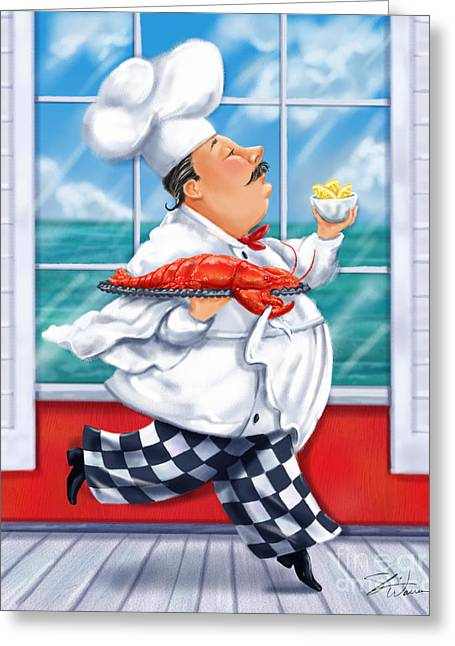 Clam Greeting Cards - Seafood Chefs-Live Lobster Greeting Card by Shari Warren