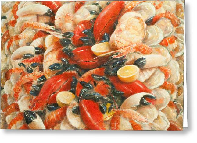 Shell Fish Greeting Cards - Seafood Extravaganza Greeting Card by Lincoln Seligman