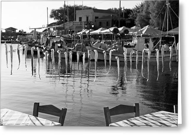 Village Greeting Cards - Seafood in Molyvos Greeting Card by George Atsametakis
