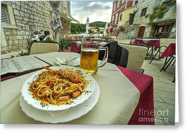 Staris Greeting Cards - Seafood Pasta  Greeting Card by Rob Hawkins