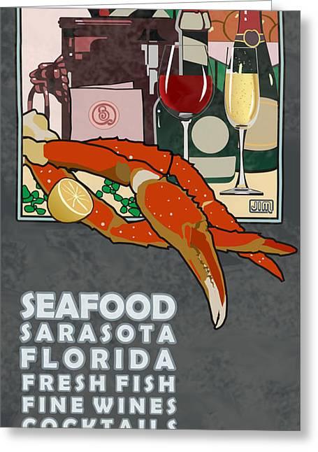 Menu Digital Art Greeting Cards - Seafood Sarasota Greeting Card by Jim Sanders