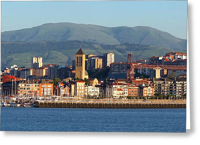 Sailboats Docked Greeting Cards - Seafront and pier of Getxo Greeting Card by Mikel Martinez de Osaba