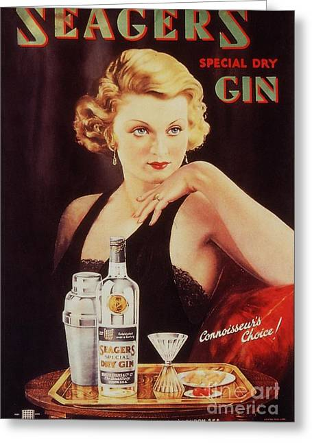 Seagers 1930s Uk Glamour Gin  Cocktails Greeting Card by The Advertising Archives