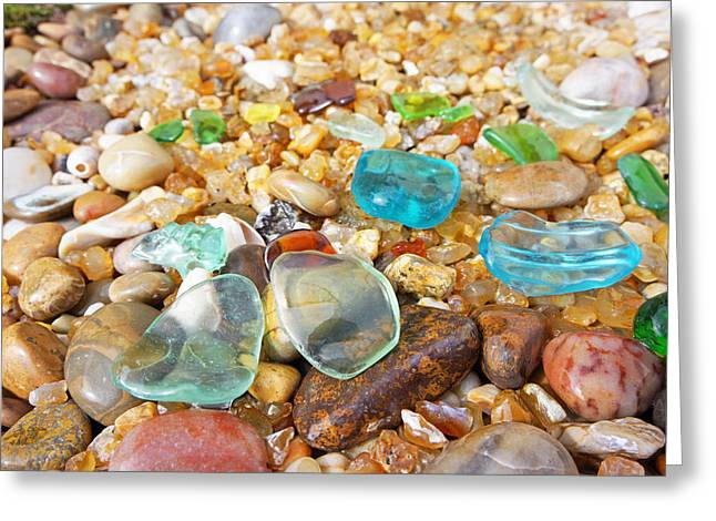 Agate Beach Greeting Cards - Seaglass Coastal Beach Rock Garden Agates Greeting Card by Baslee Troutman