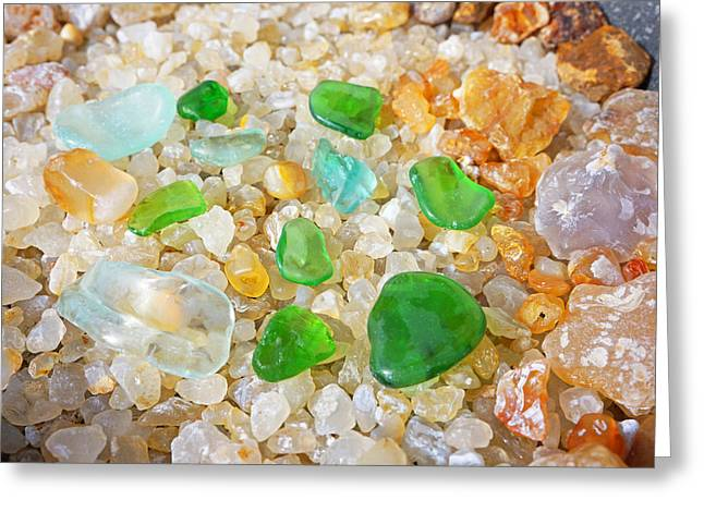 Agate Beach Greeting Cards - Seaglass Green Art Prints Agates Beach Garden Greeting Card by Baslee Troutman