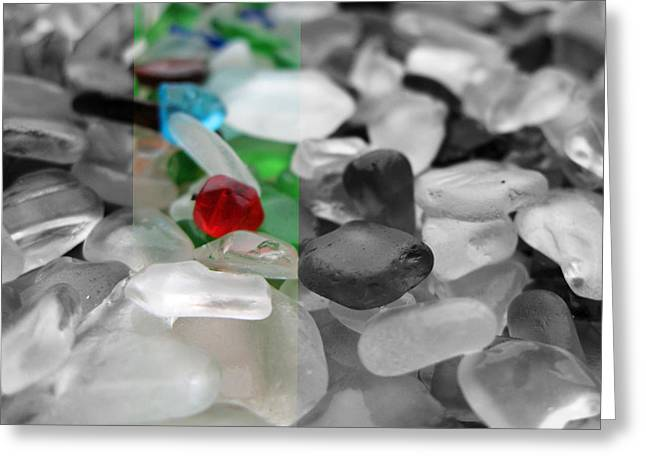 Beach Photograph Glass Greeting Cards - Seaglass No. 2 in Black and White Greeting Card by Robin Matterfis