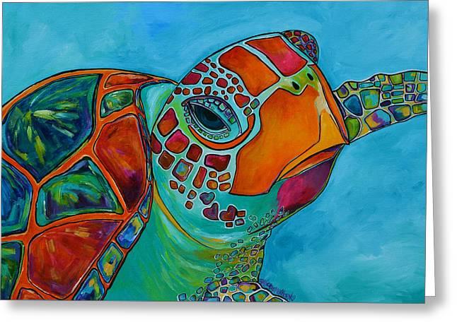 Seaglass Sea Turtle Greeting Card by Patti Schermerhorn