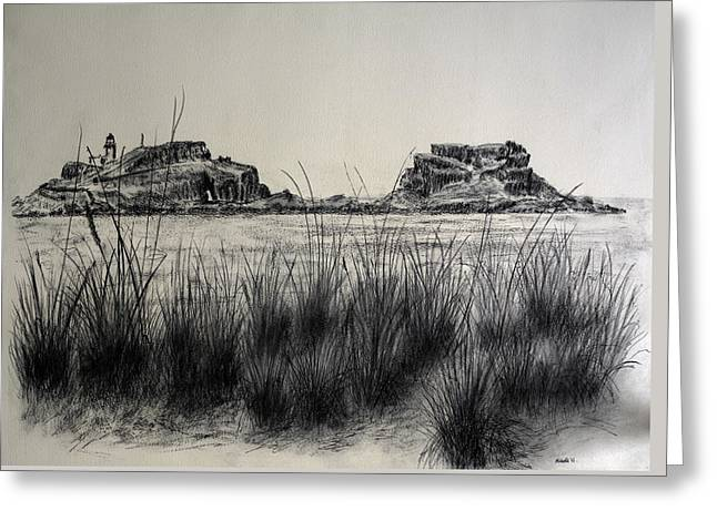 North Shore Drawings Greeting Cards - Seagrass and Fidra Greeting Card by Michelle Bailey