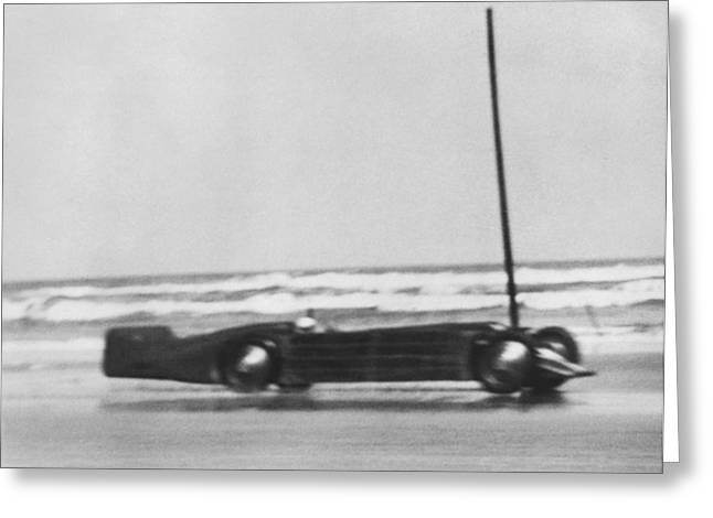 On The Beach Greeting Cards - Seagraves Golden Arrow Car Greeting Card by Underwood Archives