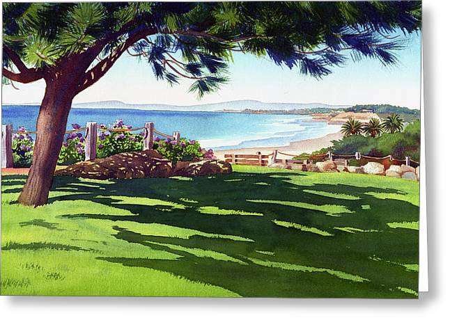 Park Scene Greeting Cards - Seagrove Park Del Mar Greeting Card by Mary Helmreich
