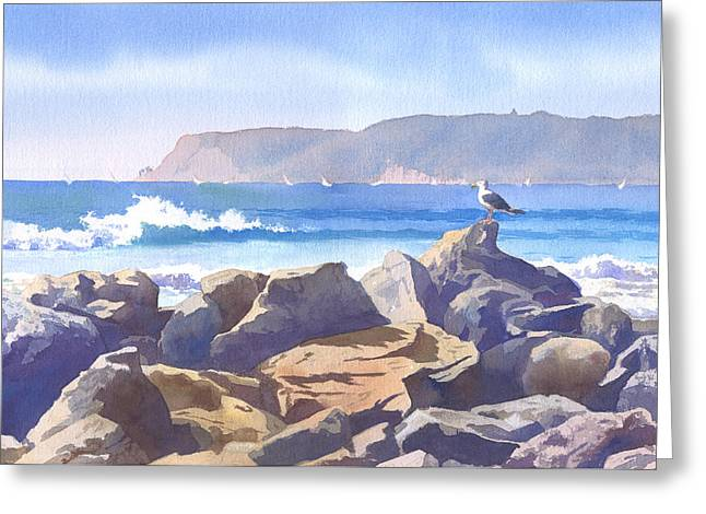 Seagull And Point Loma Greeting Card by Mary Helmreich